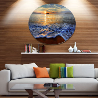 Design Art Peaceful Sandy Beach with Waves Extra Large Metal Circle Wall Art