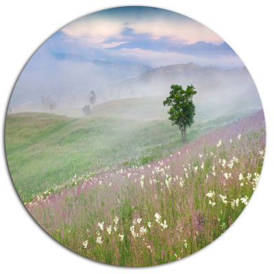 Design Art Foggy Summer Morning in Mountains LargeLandscape Metal Circle Wall Art