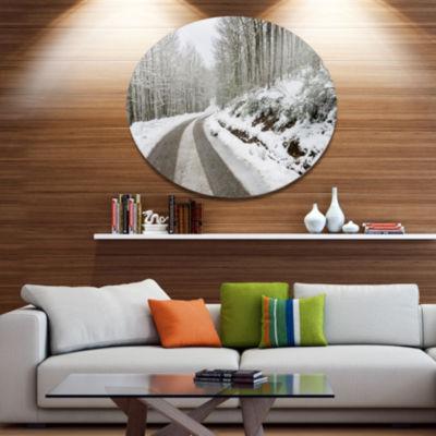 Design Art Snow Storm at Piornedo Spain Large Landscape Metal Circle Wall Art