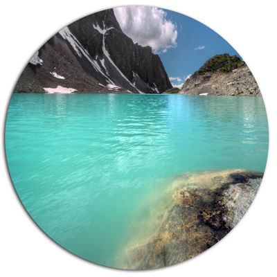 Design Art Crystal Clear Mountain Lake Landscape Metal Circle Wall Art