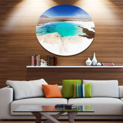 Design Art Beautiful Salinas Lake in Argentina Large Landscape Metal Circle Wall Art