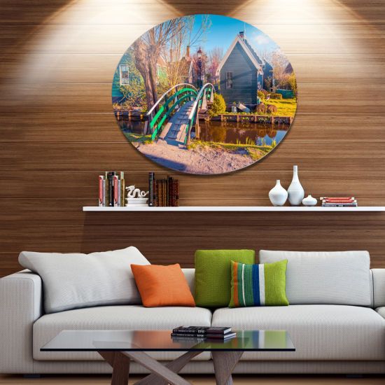 Design Art Dutch Buildings in Zaanstad Village Landscape Metal Circle Wall Art