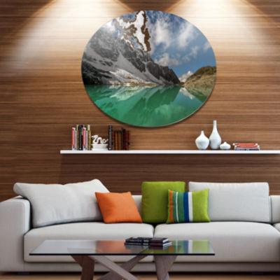 Design Art Clear Mountain Lake under Bright Sky Landscape Metal Circle Wall Art
