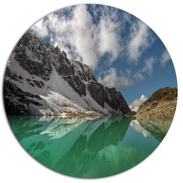 Design Art Clear Mountain Lake under Bright Sky Landscape Metal Circle Wall Art