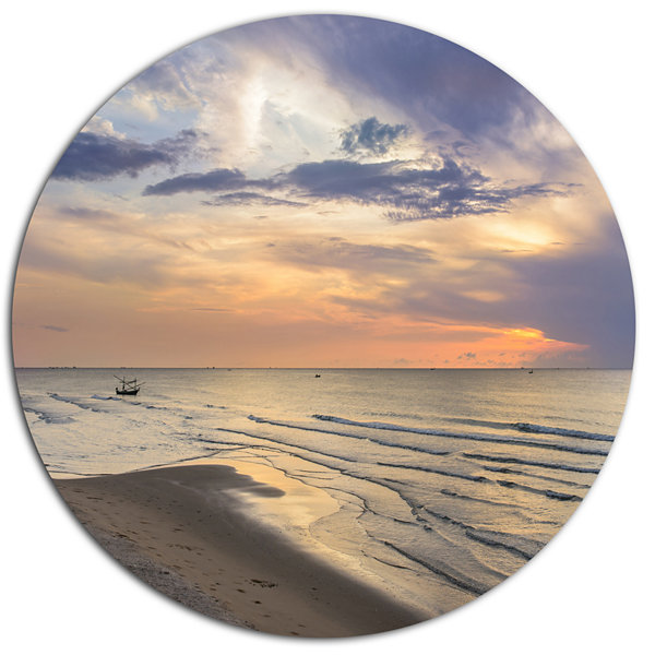 Design Art Calm Sunset in Thailand Beach LandscapeMetal Circle Wall Art