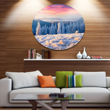 Design Art Amazing Winter Sunrise in Mountains Large Landscape Metal Circle Wall Art
