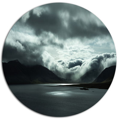 Design Art Stormy Iceland in the Summer Seashore Metal Circle Wall Art