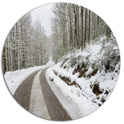 Design Art Snow Storm at Piornedo Spain Large Landscape Metal Circle Wall Art