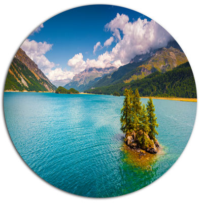Design Art Silsersee Lake in the Swiss Alps LargeLandscape Metal Circle Wall Art