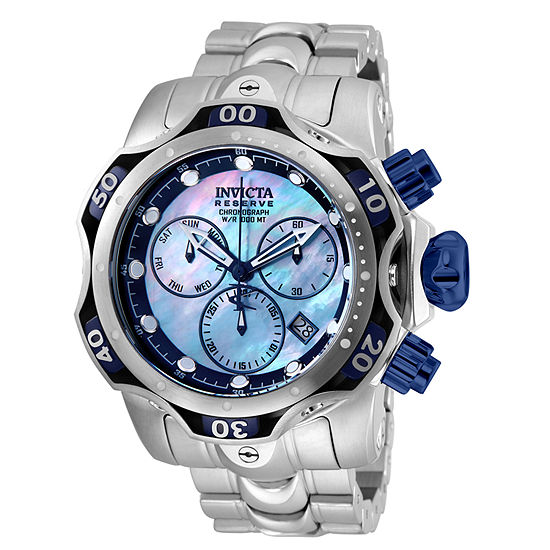 Invicta Reserve Mens Chronograph Silver Tone Stainless Steel Bracelet Watch-25976