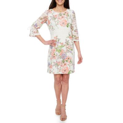 R & K Originals 3/4 Sleeve Floral Shift Dress-Petites