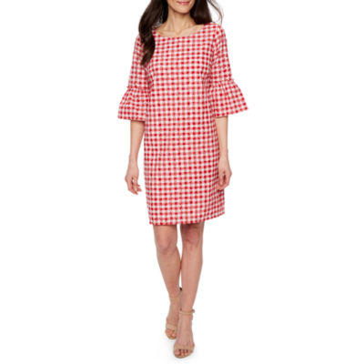 Melrose 3/4 Sleeve Checked Shift Dress-Petite