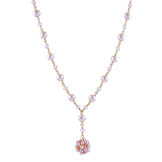 Womens Pink Cultured Freshwater Pearl and Genuine Quartz 14K Gold Y Necklace