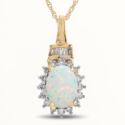 Womens Multi Color Opal 10K Gold Pendant Necklace