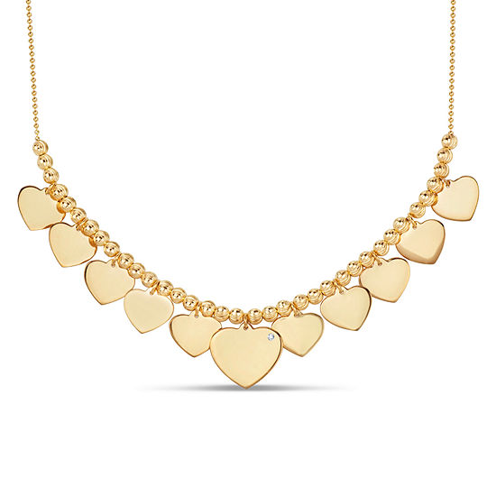 Womens White Cubic Zirconia 18K Gold Over Silver Heart Pendant Necklace