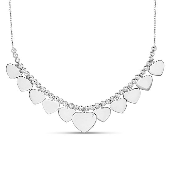 Womens White Cubic Zirconia Sterling Silver Heart Pendant Necklace