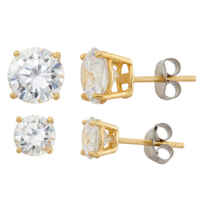 2 Pair 1/5 CT. T.W. White Cubic Zirconia 18K Gold Over Silver Earring Set
