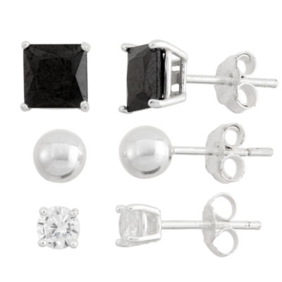 3 Pair 5 CT. T.W. Black Cubic Zirconia Sterling Silver Earring Set