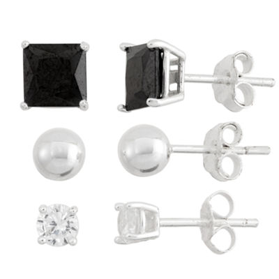 3 Pair 5 CT. T.W. Black Cubic Zirconia Sterling Silver Earring Set