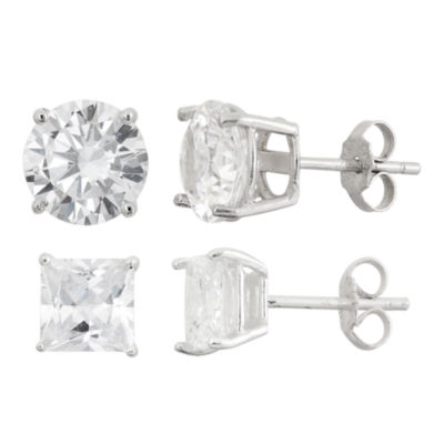 2 Pair White Cubic Zirconia Sterling Silver Earring Set