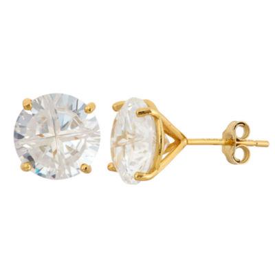 Diamonart 6 CT. T.W. White Cubic Zirconia 18K Gold Over Silver 8mm Stud Earrings