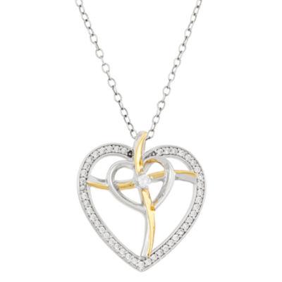 Diamonart Womens 3/8 CT. T.W. White Cubic Zirconia Heart Pendant Necklace
