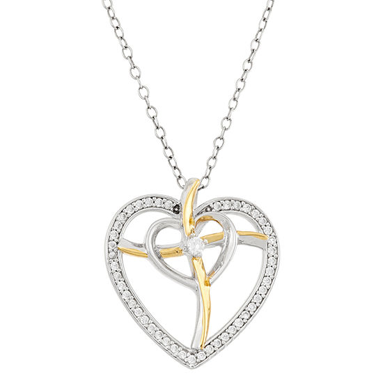 Diamonart Womens 3/8 CT. T.W. White Cubic Zirconia Sterling Silver Heart Pendant Necklace