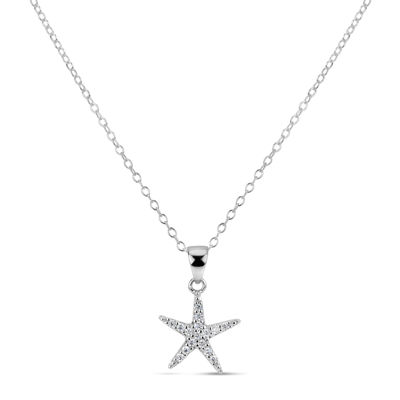 Diamonart Womens 1/4 CT. T.W. White Cubic Zirconia Sterling Silver Star Pendant Necklace