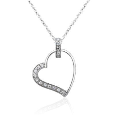 Diamonart Womens 1/2 CT. T.W. White Cubic Zirconia Sterling Silver Pendant Necklace