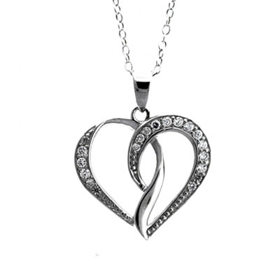 Diamonart Womens 1/3 CT. T.W. White Cubic Zirconia Sterling Silver Heart Pendant Necklace