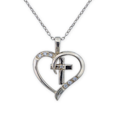 Diamonart Womens 1 1/3 CT. T.W. White Cubic Zirconia Sterling Silver Heart Pendant Necklace