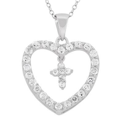 Diamonart Womens 2 1/2 CT. T.W. White Cubic Zirconia Sterling Silver Heart Pendant Necklace