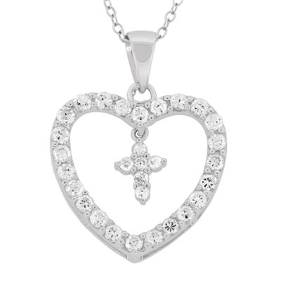 Diamonart Womens 2 1/2 CT. T.W. White Cubic Zirconia Sterling Silver Pendant Necklace