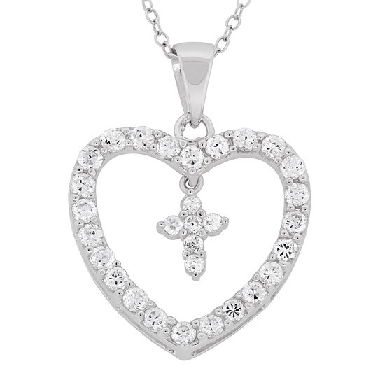Diamonart Womens 2 1/2 CT. T.W. White Cubic Zirconia Sterling Silver Heart Pendant Necklace