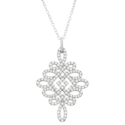 Diamonart Womens 2 CT. T.W. White Cubic Zirconia Sterling Silver Pendant Necklace