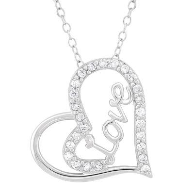 Diamonart Womens 3/4 CT. T.W. White Cubic Zirconia Sterling Silver Pendant Necklace