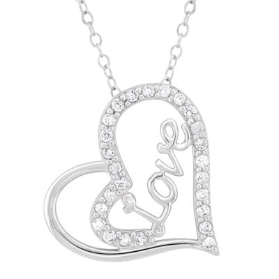 Diamonart Womens 3/4 CT. T.W. White Cubic Zirconia Sterling Silver Heart Pendant Necklace