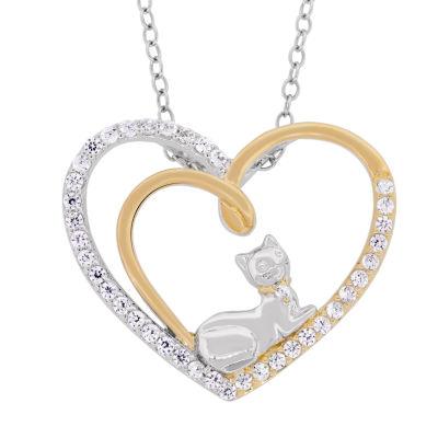 Diamonart Womens 5/8 CT. T.W. White Cubic Zirconia 18K Gold Over Silver Pendant Necklace