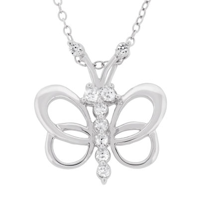 Diamonart Womens 5/8 CT. T.W. White Cubic Zirconia Sterling Silver Butterfly Pendant Necklace