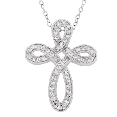Diamonart Womens 7/8 CT. T.W. White Cubic Zirconia Sterling Silver Cross Pendant Necklace