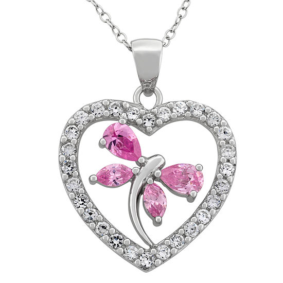 Diamonart Womens 3 1/4 CT. T.W. Pink Cubic Zirconia Sterling Silver Heart Pendant Necklace