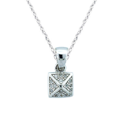 Diamonart Womens 1/10 CT. T.W. White Cubic Zirconia Sterling Silver Pendant Necklace