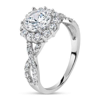 Diamonart Womens 3 1/2 CT. T.W White Cubic Zirconia Sterling Silver Engagement Ring