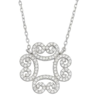 Diamonart Womens 1 1/2 CT. T.W. White Cubic Zirconia Sterling Silver Pendant Necklace