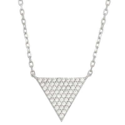 Diamonart Womens 5/8 CT. T.W. White Cubic Zirconia Sterling Silver Triangle Pendant Necklace