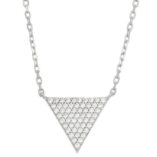 DiamonArt® Womens 5/8 CT. T.W. White Cubic Zirconia Sterling Silver Triangle Pendant Necklace