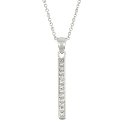 Diamonart Womens 1/5 CT. T.W. White Cubic Zirconia Sterling Silver Pendant Necklace