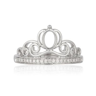 Enchanted Disney Fine Jewelry Womens 1/10 CT. T.W. Genuine White Diamond Sterling Silver Cinderella Promise Ring