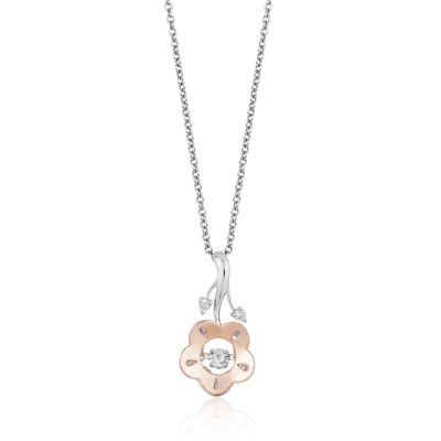 Enchanted Disney Fine Jewelry Diamond Accent 10K Rose Gold & Sterling Silver Pendant Necklace