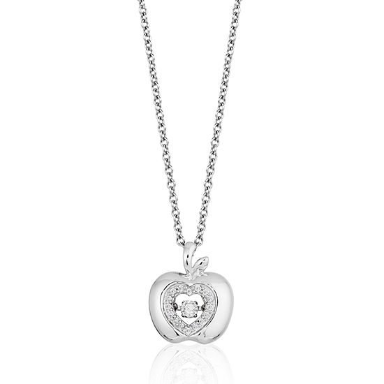 Enchanted Disney Fine Jewelry Womens 1/10 CT. T.W. Genuine White Diamond Sterling Silver Disney Princess Pendant Necklace